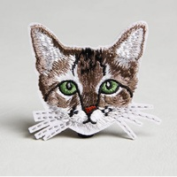 small flowers Clothing patch Lovely animal cat patch Iron On Embroidered Appliques DIY Apparel Accessories Patch