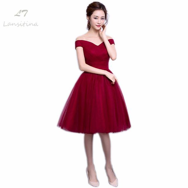 0ad933a194 NOBLE WEISS Dark Red Knee-Length V-Neck Dark Red A-Line Prom Dresses Net  Pleat Custom Made Lace-up Back Prom Party Gown