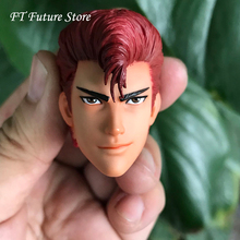 Collectible 1/6 Male Anime Head Sculpt Accessory Hanamichi Sakuragi SLAM DUNK with Red Hard Hair Model for 12 Action Figure