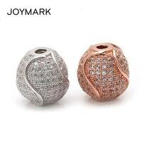 JOYMARK 12mm S Strip Pattern Round Micro Pave CZ Zircon 925 Sterling Silver Spacers Beads Fine Jewelry Accessories SB CZ607
