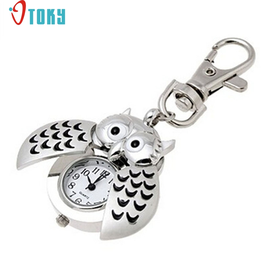 OTOKY Hot Unique Pocket Fob Watches Mini Metal Key Ring owl double open Quartz Watch Clock- Silver Drop ship F12 стоимость