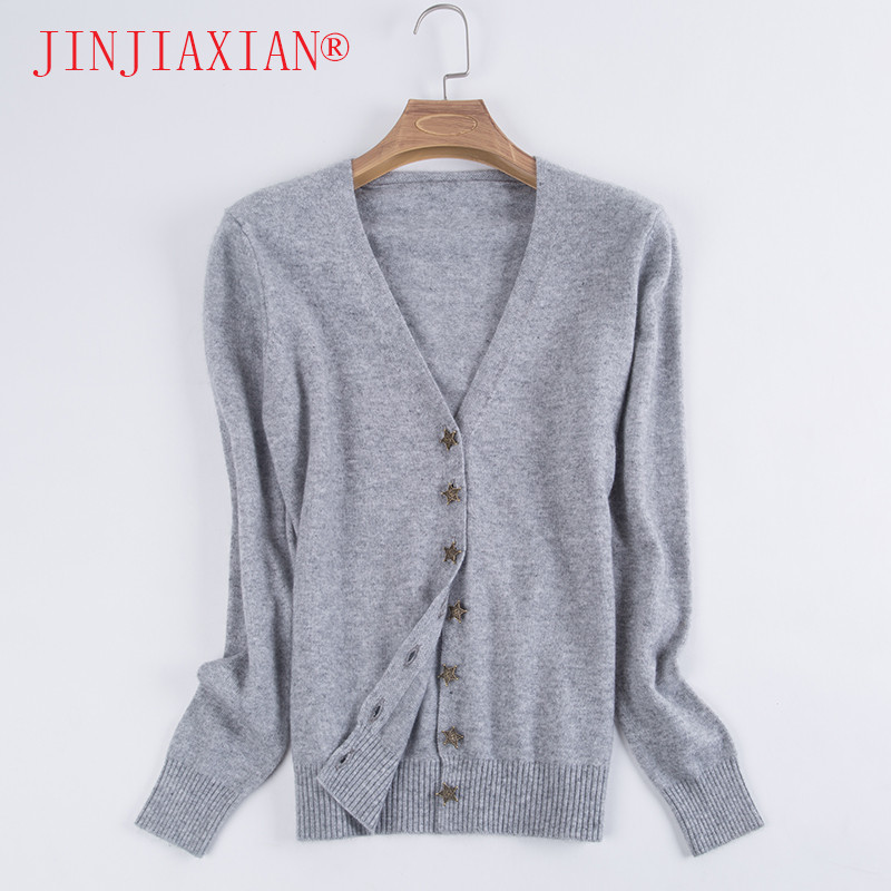 2018 new cardigan women s long sleeved wool cardigan sweater single breasted loose sweater Autumn and