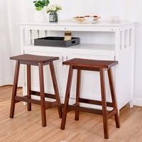 Giantex Set of 2 Saddle Seat 24 Bar Stools Wood Bistro Dining Kitchen Pub Chair Walnut Living Room Furniture HW54783WN