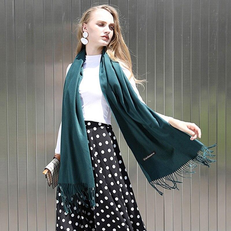 Image 4 - 2019 冬のカシミヤスカーフ女性の高級ブランドのスカーフ女性タッセルバンダナ女性ソリッドショールラップスカーフティペットパシュミナレディース スカーフ   -