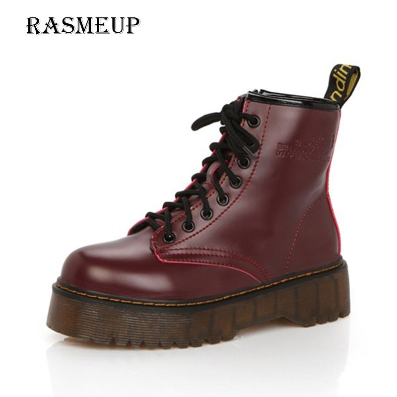 RASMEUP Leather Women's Martin Boots 2018 Autumn Thick Sole Lace Up Zipper Women Ankle Boots Casual Comfort Woman Platform Shoes