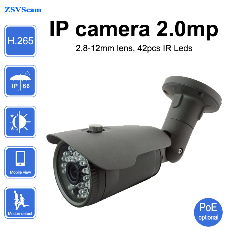 H.265 varifocal PoE ip camera 2mp hd 1080p outdoor security network surveillance digital video cctv camera hd 2mp h 265 home security ip camera surveillance bullet network cctv camera wdr poe high resoultion with sony291 chipset