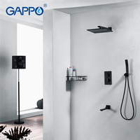 GAPPO Shower Faucet Waterfall Faucet Sets Shower Syatem Bathtub Tap Shower Wall Mounted Mixer Tap Bathroom Black Shower Faucet