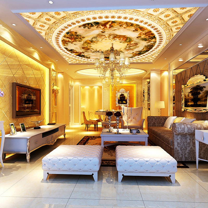 Buy european luxury gold oil painting for Gold wallpaper living room