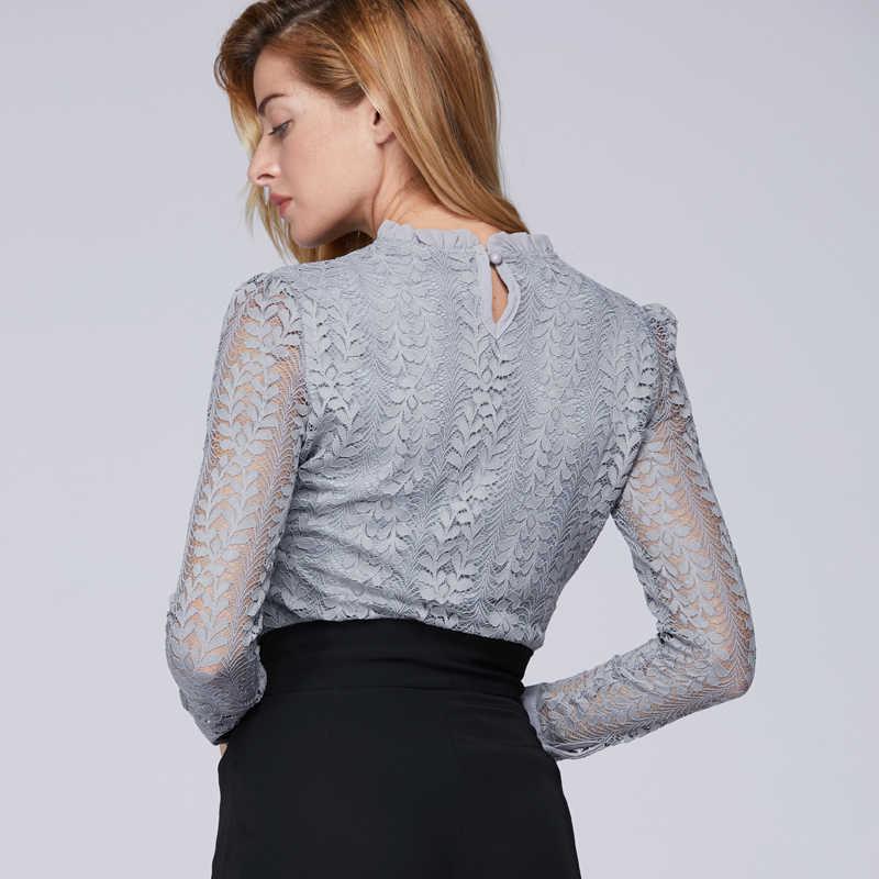 188ff7a74d1 ... Модные женские топы и блузки с круглым вырезом 2019 с длинными рукавами  OL женская рубашка кружевная ...