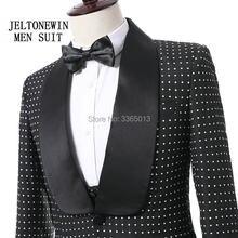 1cd20806e42125 Neue Ankunft Hochzeitsanzug Für Männer Schwarz Weiß Dot Dünne Fit 3 Stücke  Prom Anzüge Bräutigam Smoking