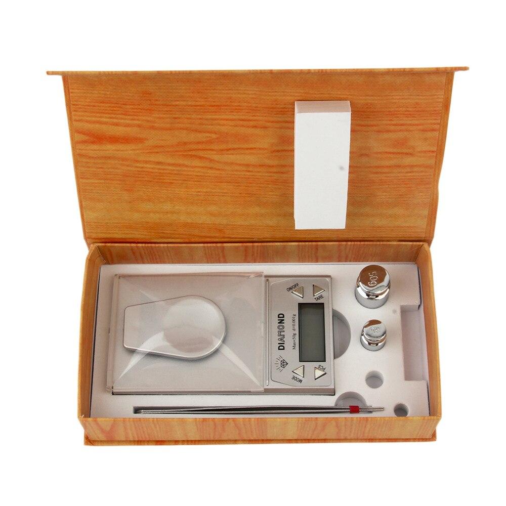 1 unids alta precisión 50g 0.001G LCD Digital de joyería Básculas laboratorio oro herbal balance Fondo azul peso gram en todo el mundo caliente