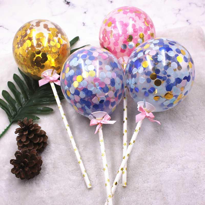 1pcs Confetti Party Supplies Heart Shape Balloons Cake Topper Wedding Decoration