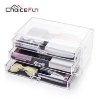 CHOICEFUN Makeup Organizer 3 Drawers Acrylic Make Up Storage Box Plastic Cosmetic Lipstick Nail Polish 100