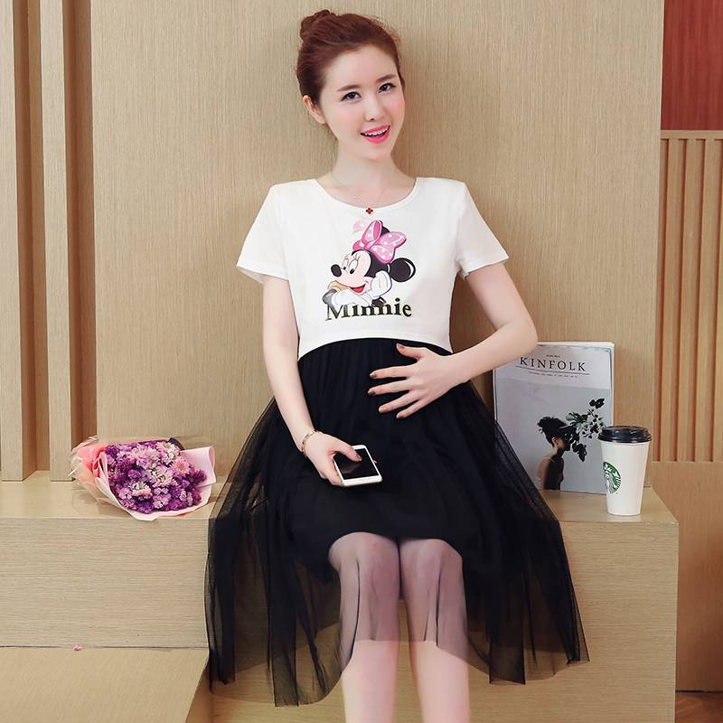 Maternity summer new Korean version of the cotton in the long section of breastfeeding d ...