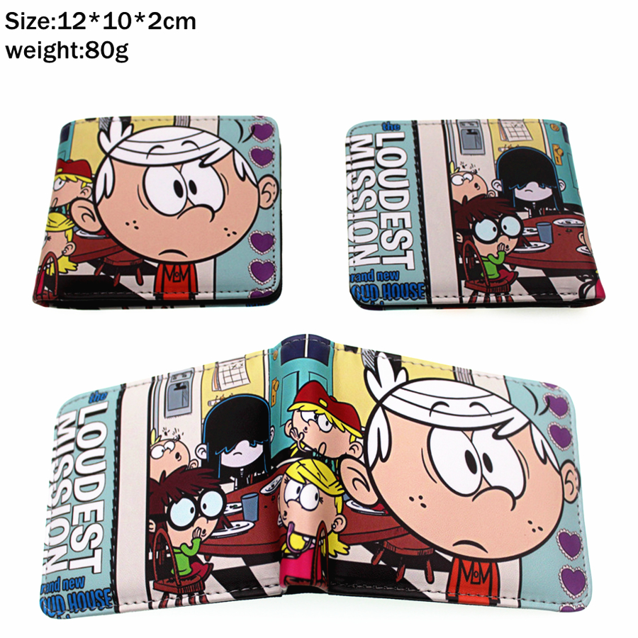 Cartoon The Loud House Lincoln Pu Short wallet Bifold Photo Card Holder Layers leather Boys Girls zip Pocket colours Coin Purse grille