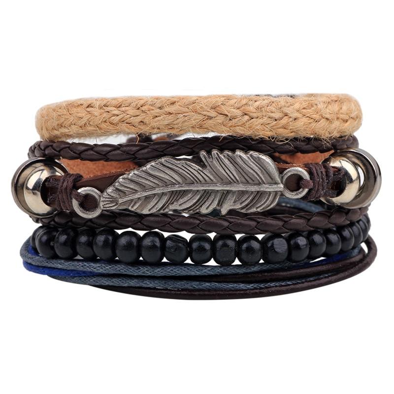 1Set 4pcs Leather Leaf Handmade Bracelet Boho Bracelets for Male Braclet Mens Braslet Pulseras Hombre Bileklik Erkek Jewellery