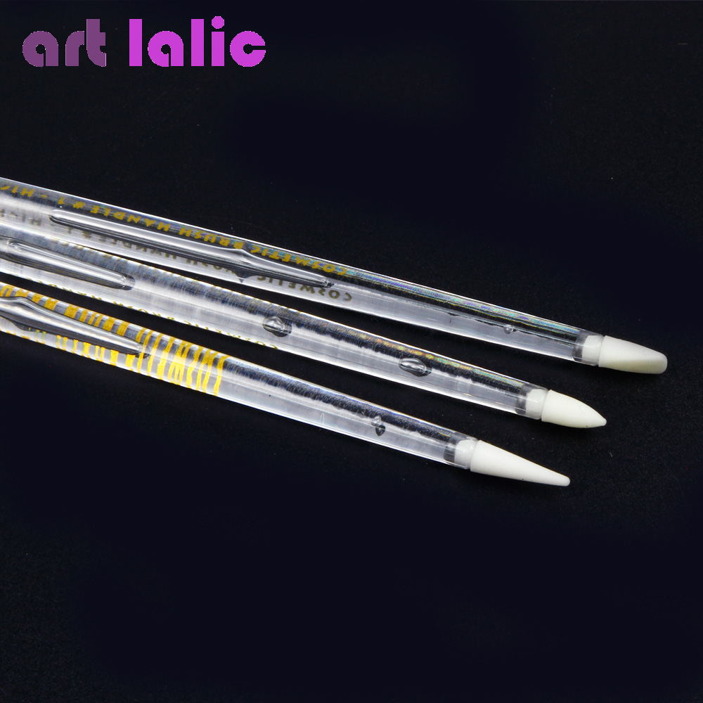 3 Pcs Nail Art Brush Pen Silicone Head Carving Emboss Shaping Hollow Sculpture Acrylic Manicure Dotting Tools