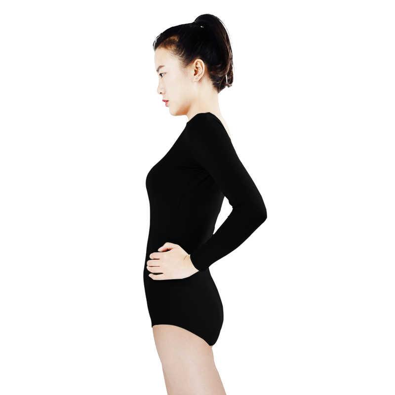 Ensnovo justaucorps танец с длинным рукавом Гимнастика купальник Балетные костюмы костюм плотно Для женщин лайкра нейлон Черные стринги кожи боди костюмы