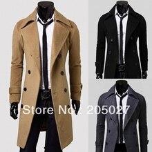 Male unique slim double faced kuruksetra outerwear long design double breasted wool coat,mens fashion clothing plus size M  XXXL