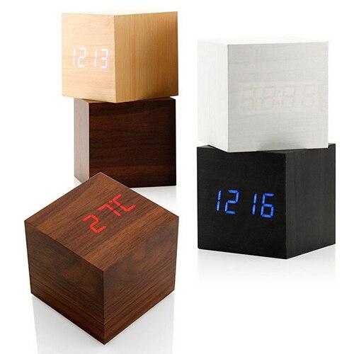 Voice Control Cube Wooden Clock USB/Battery LED Digital Desk Alarm Clock Thermometer Timer Calendar 6cmx6cmx6cm Drop Shipping