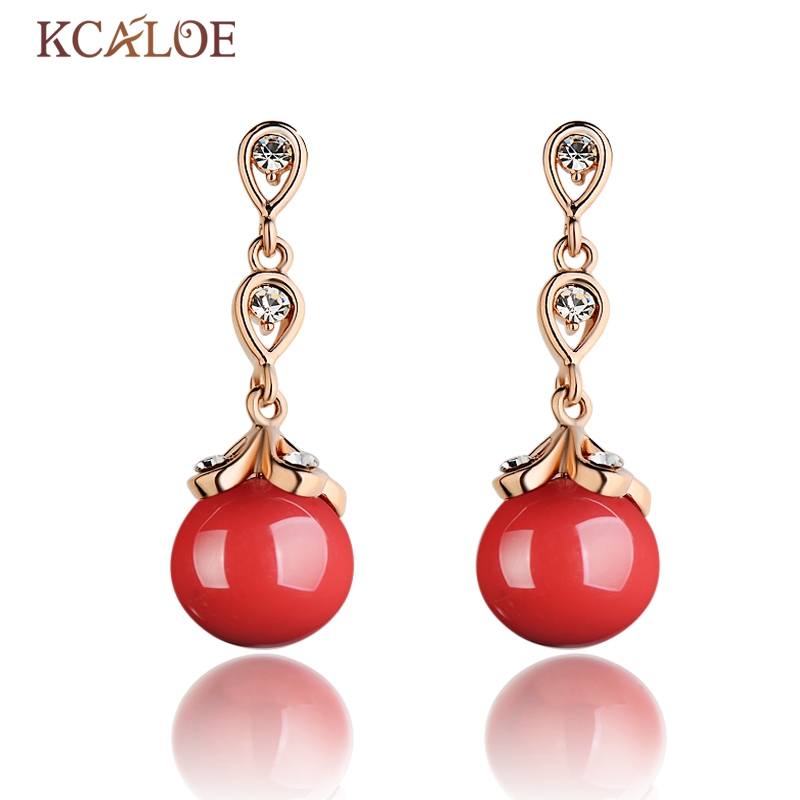 KCALOE Red Drop Earrings Rose Gold Color Cubic Zirconia Crystal Bride Wedding Jewelry Natural Red Coral Stone Women Earring