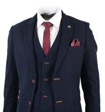 2018 Dark Navy Mens Suits Jacket Wool Tweed 3PCS Tuxedos 38 40 42 44++ Custom