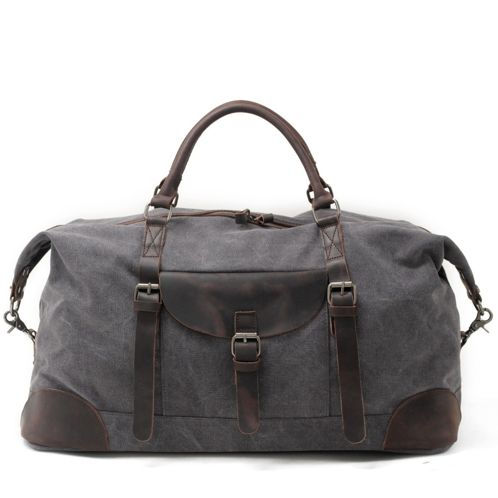 M025 Canvas Crazy Horse Leather Men Travel Bags Carry On Luggage Bags Men Duffel Bags Travel