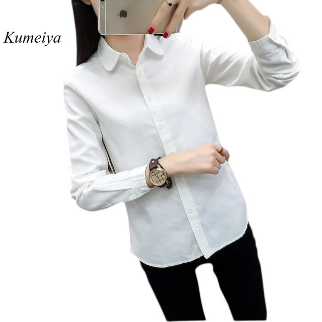 35a898d6 Spring Autumn Shirts For Women Long Sleeve Casual Oxford Blouse Female Work  Wear Solid Color White Office Ladies Tops