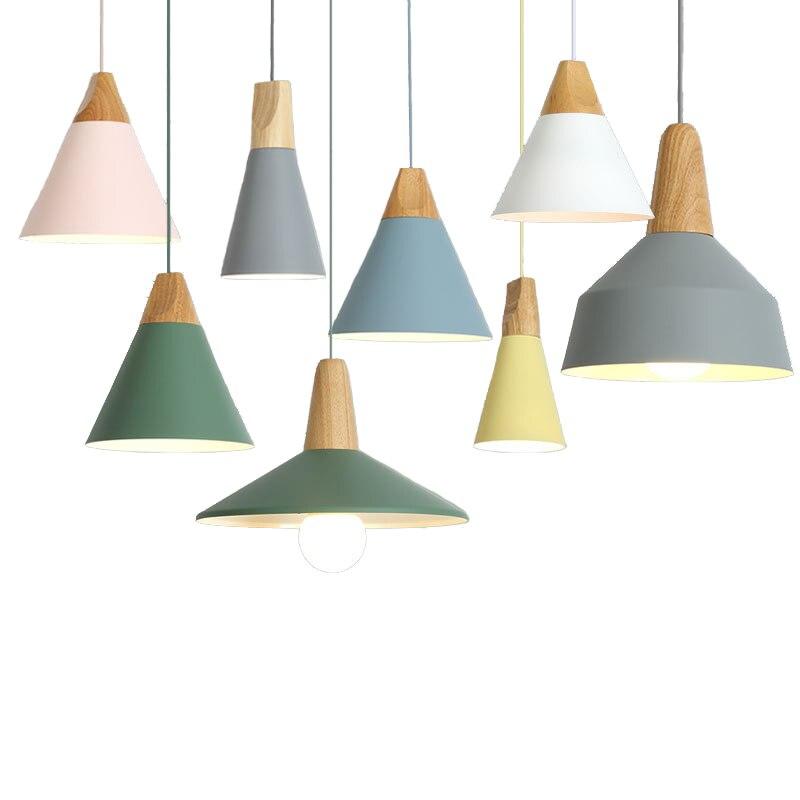 Suspension Simple nordique E27 aluminium bois lampe italienne maison restaurant comptoir décoration éclairage