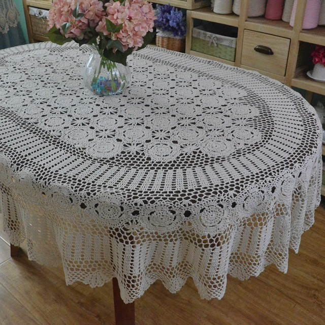 Attirant Handmade Crocheted Dinner Table Cloth ,Lace Cotton Oval Table Cloth, Extra Long  Table Cover