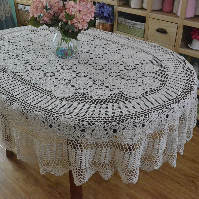 Handmade Crocheted Dinner Table cloth ,Lace Cotton Oval table cloth, Extra Long Table cover