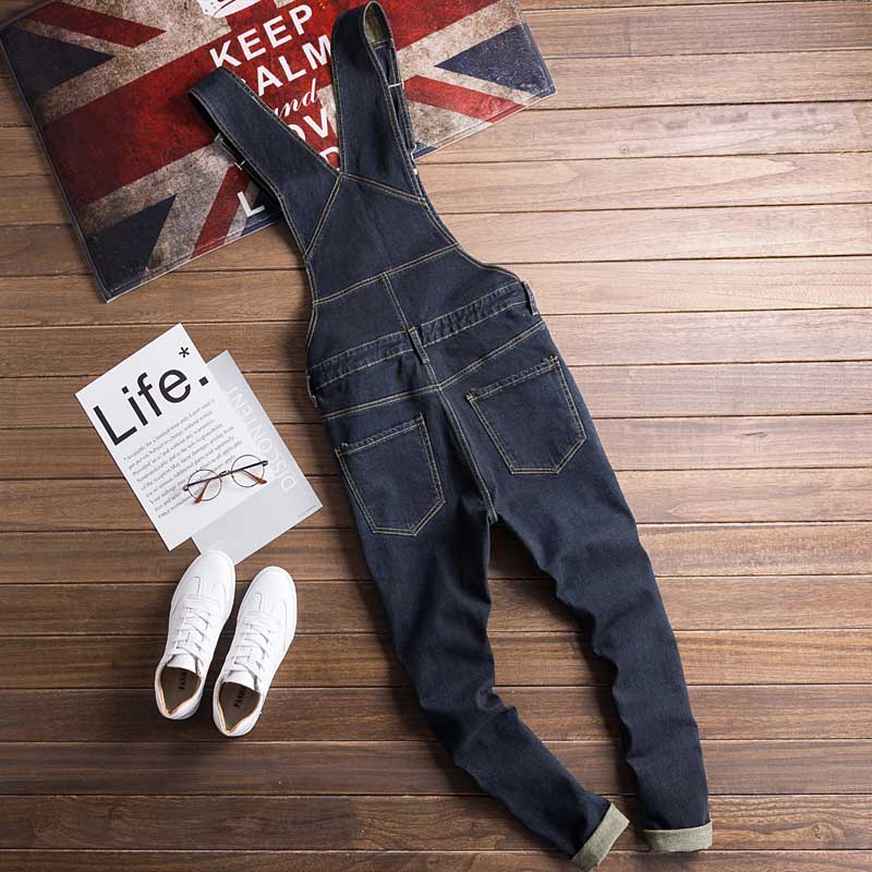Men Denim Bib Jumpsuit Hip Hop Slim Fit Casual Jean Pants Dark Blue Streetwear Male Suspenders Jumpsuit Size S-2XL (3)