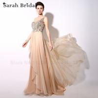 Elegant One Shoulder Champagne Evening Dresses Crystal Beading Sequins Illusion Back Chiffon Long Formal Dress Party Vestidos