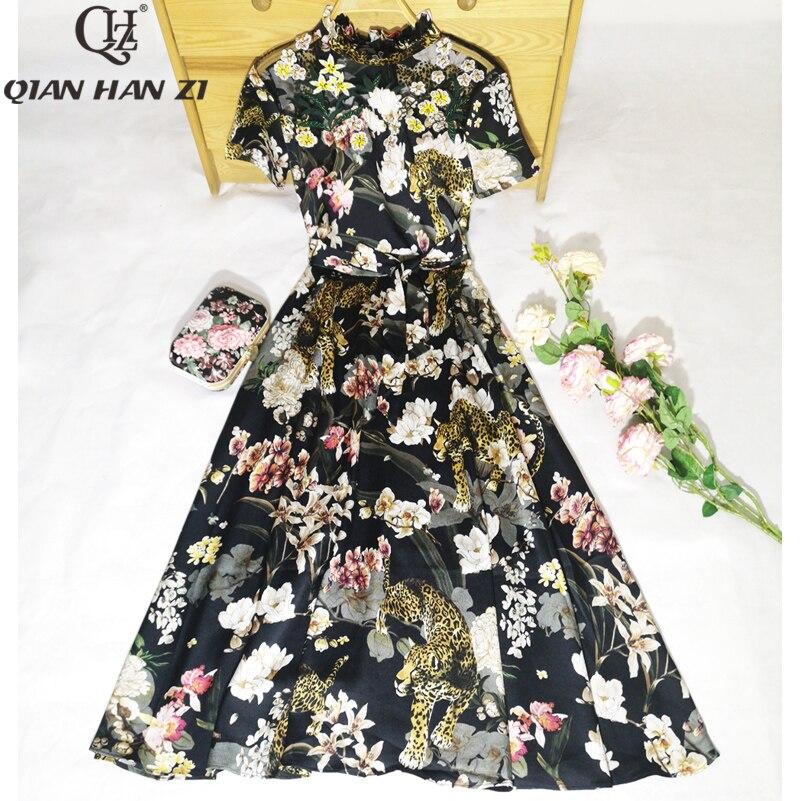 Qian Han Zi ใหม่ล่าสุด 2019 แฟชั่นฤดูร้อนผู้หญิงตาข่ายปักลูกปัด Patchwork พิมพ์ Vintage ชุด Midi-ใน ชุดเดรส จาก เสื้อผ้าสตรี บน   1