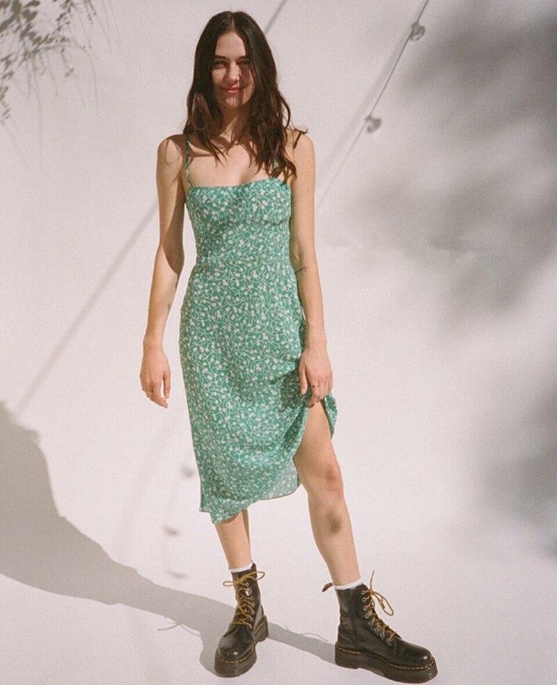 100% di Seta verde Amelia-Poison Ivy stampato floreale senza maniche cinghia di spaghetti delle donne lungo slim fit vestito longuette
