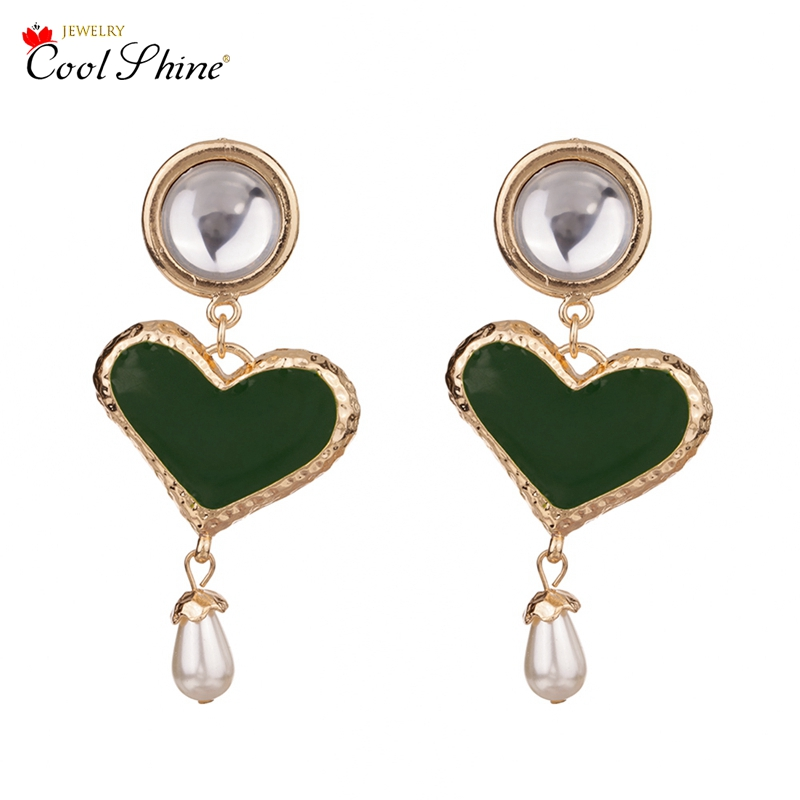 Coolshine New Arrival ZA Hot Drop Earrings for Women Statement Alloy Crystal Acrylic Heart Fashion Shining Christmas Jewelry