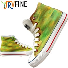 YJRVFINE Handmade Shoes Men Army Green Camouflage Gradient Customizable Shoes Hand Painted Graffiti Casual Shoes S161M