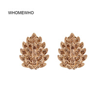 WHOMEWHO Gold Metal Crystal Peacock Tail Pine Cone Minimalist Stud Earrings Korean Fashion Party Jewelry Bridal Ear Accessory