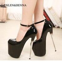Sexy Ultra High Heels Women Pumps Platform Thin Heels Single Shoes Japanned Leather Women Shoes 20cm