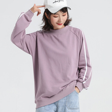Jvzkass 2019 macarons spring and autumn base new two-bar women fashion printing round neck pullover Sweatshirt Z307