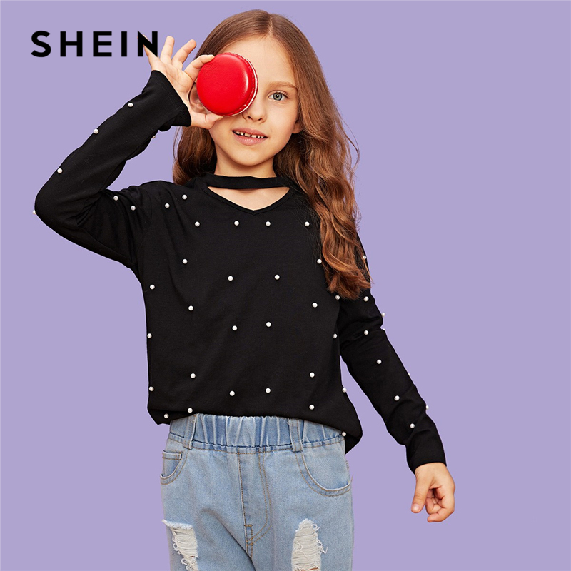 SHEIN Black V Neck Pearl Beads Cute Elegant T Shirt Girls Tops 2019 Spring Korean Fashion Long Sleeve T-Shirts For Girls Tee retro style v neck long sleeve ethnic print self tie belt dress for women