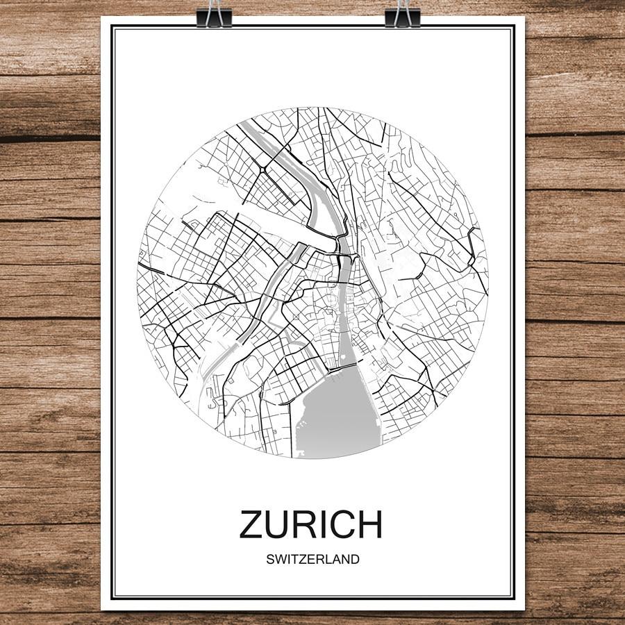 Schweiz Karte Schwarz Weiss.Zurich Schweiz Schwarz Weiss World City Karte Drucken Poster