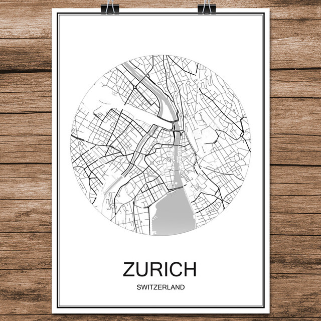 Zurich switzerland black white world city map print poster coated paper for cafe living room home