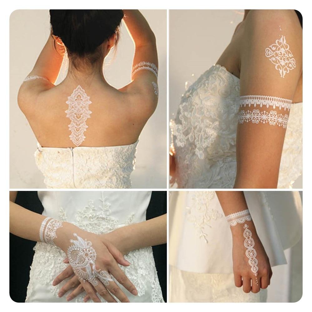 1шт White Tattoo Lace Flower Су өткізбейтін - Тату және дене өнері - фото 6