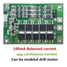 Ładowarka akumulatorów litowych 3S 40A płyta ochronna PCB BMS do silnik do wiertarki 11.1V 12.6V moduł Lipo Cell z balansem