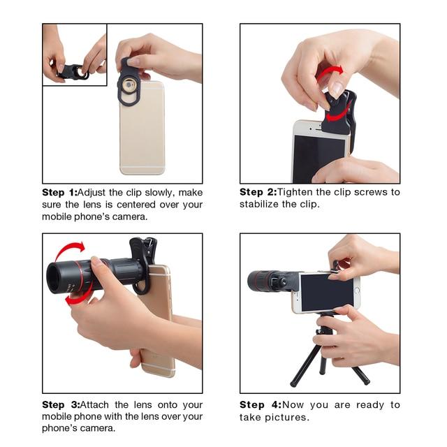 APEXEL 18X Telescope Zoom Mobile Phone Lens for iPhone Samsung Smartphones universal clip Telefon Camera Lens with tripod 18XTZJ 4