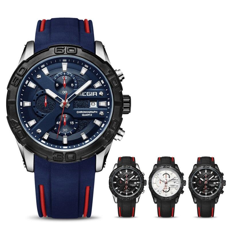 Chronograf Megir zegarek sportowy mężczyzn Relogio Masculino Top marka moda silikonowy zegarek kwarcowy armii wojskowe na rękę zegarki zegar mężczyźni w Zegarki kwarcowe od Zegarki na  Grupa 2