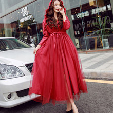 11734e289e70 Vintage Mesh Hooded Collar Red Windbreaker Autumn Women Lace Up Slim Long  Trench Coat Dress Office