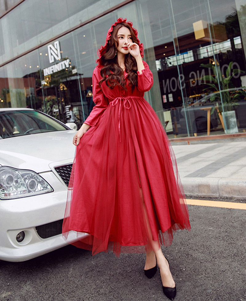 Vintage Mesh Hooded Collar Red Windbreaker Autumn Women Lace Up Slim Long   Trench   Coat Dress Office Lady Outerwear Abrigos Mujer