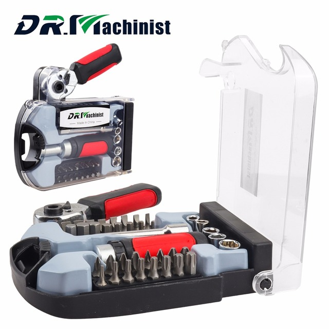 "DR.Machinist 40PCS 1/4"" Drive Mini Ratcheting Screwdriver Set With CRV Bits Sockets Extension bar 1/4"" Ratchet Wrench Adapter"